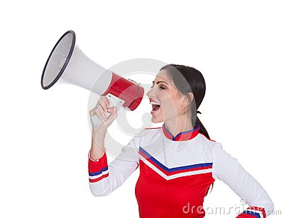 Beautiful Woman Shouting In Megaphone