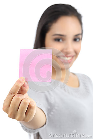 Free Beautiful Woman Showing A Blank Pink Paper Note Royalty Free Stock Photo - 34308515