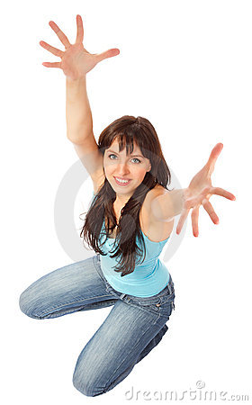 Beautiful   woman showing hands up