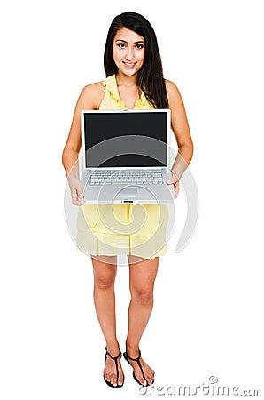 Beautiful woman showing laptop