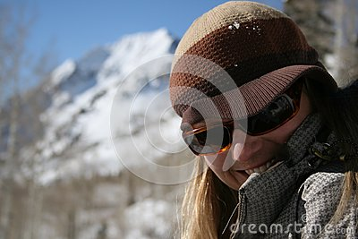 Beautiful woman shy smile with mountains