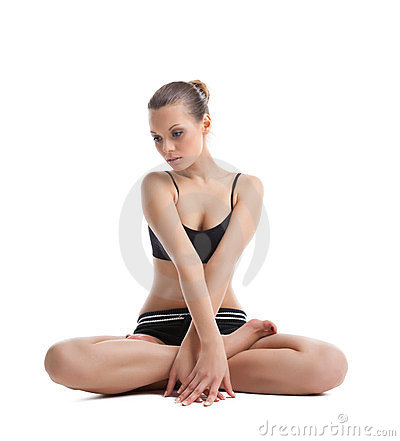 Beautiful woman sit in yoga asana isolated