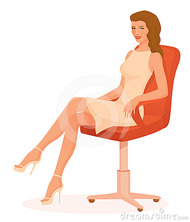 Beautiful woman sitting in retro style chair