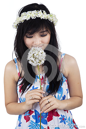 Free Beautiful Woman Smelling Flower Royalty Free Stock Images - 37082449