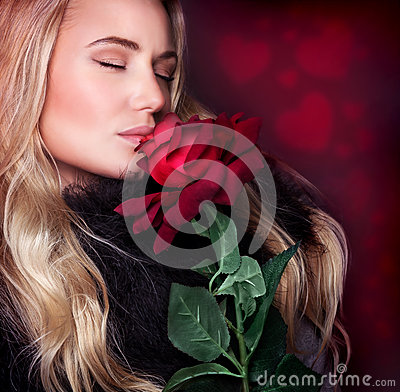 Free Beautiful Woman Smelling Rose Royalty Free Stock Images - 49275469
