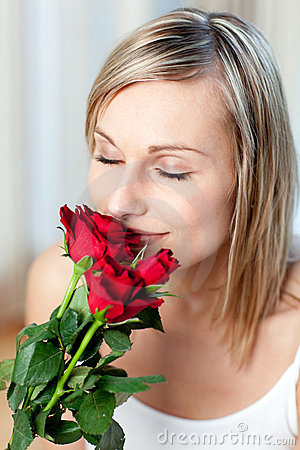 Free Beautiful Woman Smelling Roses Stock Images - 14142014
