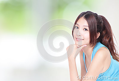 Beautiful woman smile to you