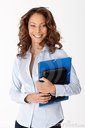 Beautiful woman smiling holding folders