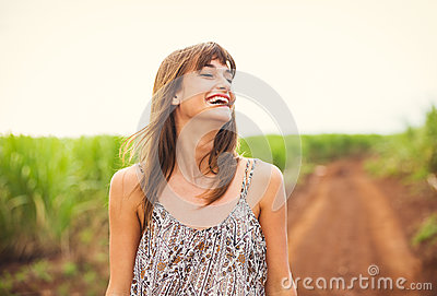 Beautiful Woman Smiling, Laughing, Fashion Lifestyle