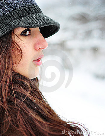 Beautiful woman smiling in winter time