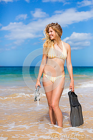 Beautiful Woman with Snorkel Gear