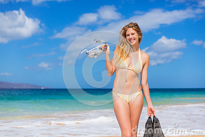 Beautiful Woman With Snorkel Gear Royalty Free Stock Images - Image: 27329129