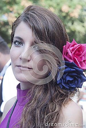 Beautiful woman of Spain folk group Editorial Photo