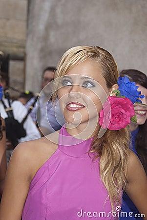 Beautiful Woman of Spain folk group Editorial Stock Image