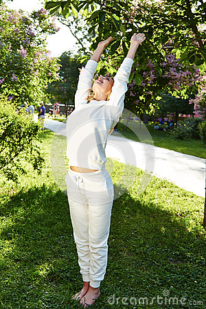 Free Beautiful Woman Sport Gymnastics Green Park Nature Summer Smile Royalty Free Stock Photo - 56268775