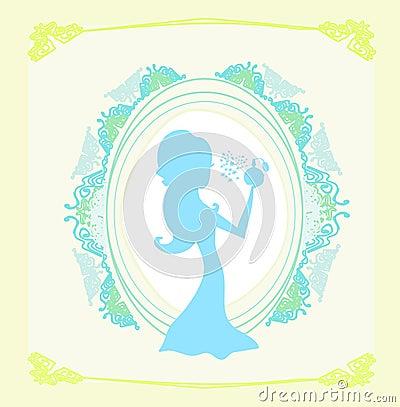 Beautiful woman spraying perfume