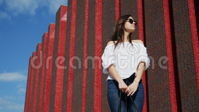 Beautiful woman stands on city street near a modern brick building, exhibition center. Beautiful woman stands and wait, wind develops hair of girl on city street stock video