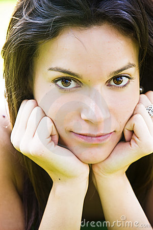 Beautiful woman staring at camera