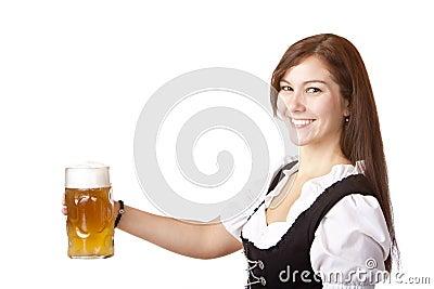 Beautiful woman stems Oktoberfest beer stein