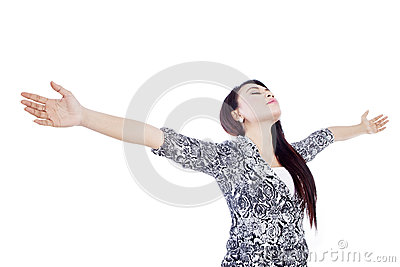 Beautiful woman stretch arms isolated over white