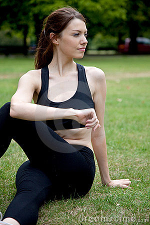 Beautiful woman stretching