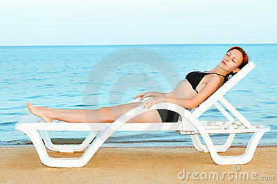 Beautiful woman sunbathing