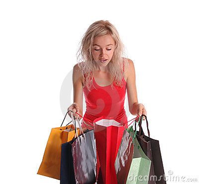 Beautiful woman with surprise looks in a bag 2