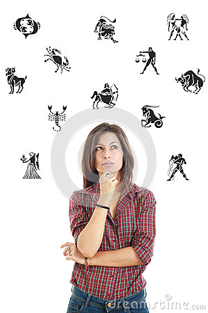 Free Beautiful Woman Surrounded With Zodiac Signs Thoughtfully Lookin Stock Image - 47789141
