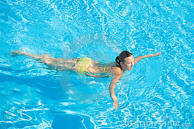 Beautiful Woman Swimming in Pool