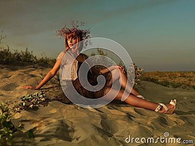 Beautiful woman t dress beach admiring sunset