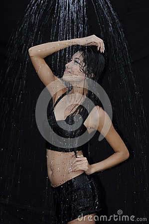 Beautiful woman take a shower