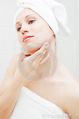 Beautiful Woman Taking Care Of Her Skin Stock Images - Image: 7924704