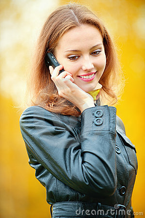 Beautiful woman talking on cell