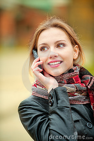Beautiful woman talking on cell