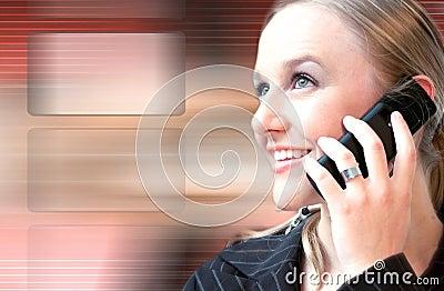 Beautiful woman talking on the phone high tech
