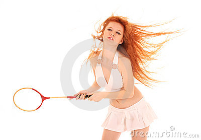 Beautiful woman with tennis racket isolated