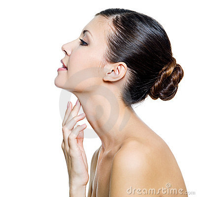 Free Beautiful Woman Touching By Fingers Her Neck Stock Image - 17004501