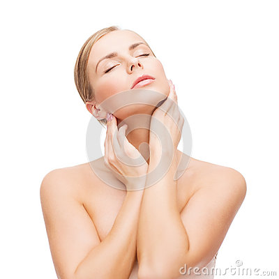 Free Beautiful Woman Touching Her Face With Closed Eyes Royalty Free Stock Image - 37150566