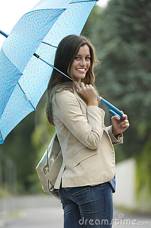 Beautiful woman with umbrella