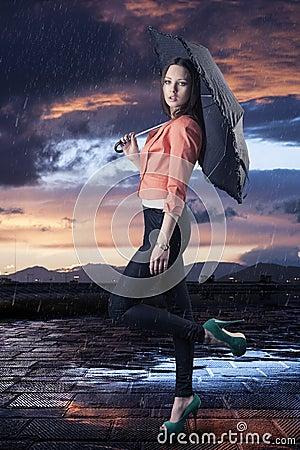 Beautiful woman with umbrella, turned in profile