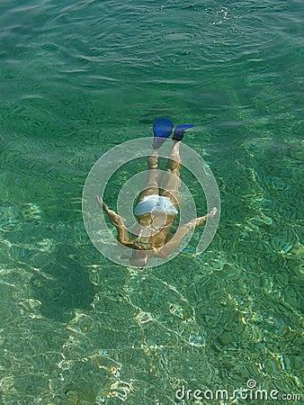 Beautiful woman undersea