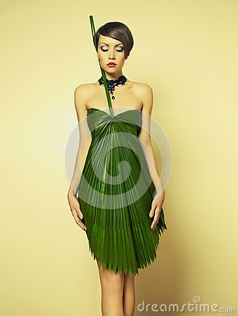 Beautiful woman in unusual dress