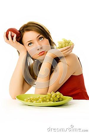 Free Beautiful Woman Unwilling To Eat Fruit Stock Photos - 7448113