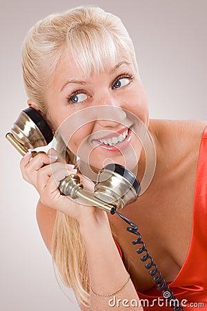 Beautiful woman using vintage phone. #2