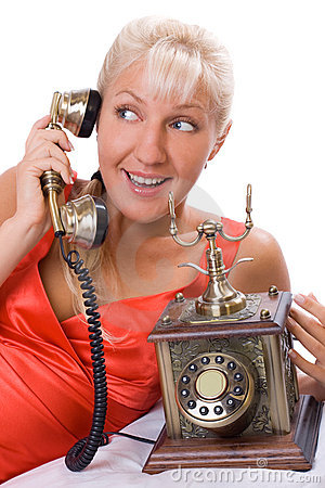 Free Beautiful Woman Using Vintage Phone. 3 Stock Images - 6550254