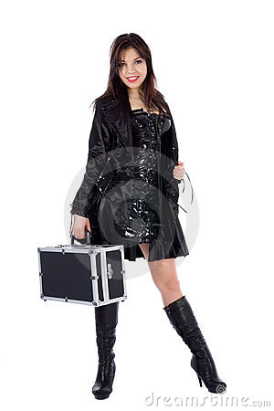 Beautiful woman with valise