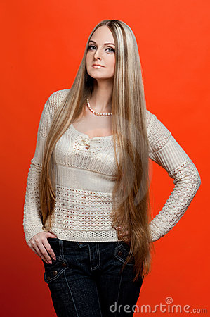 Beautiful woman with very long hair.