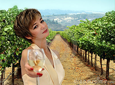 Beautiful woman at vineyard