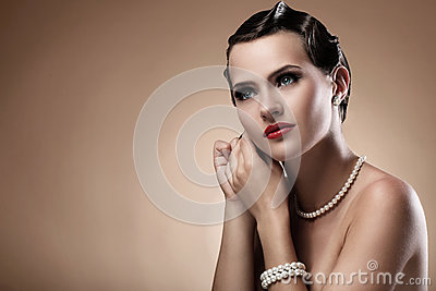 Beautiful woman in vintage image