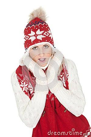 Beautiful woman in warm winter clothing